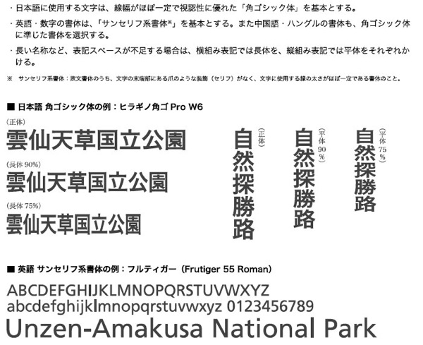 自然公園公共標識の標準表示例 04