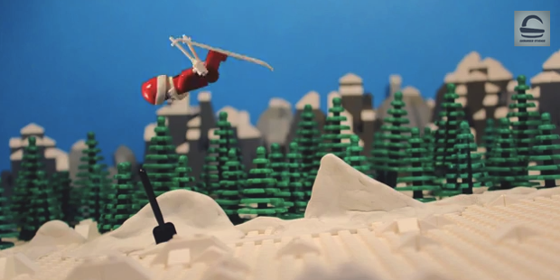 Lego Santa Back Flips On Skis